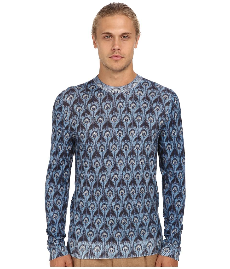 Marc Jacobs - Peacock Print Crewneck Sweater (Blue) Men