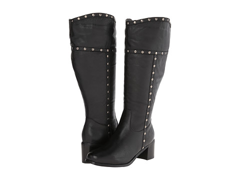 Fitzwell - Radar Wide Calf (Black Tumbled Napa Leather) Women's Zip Boots