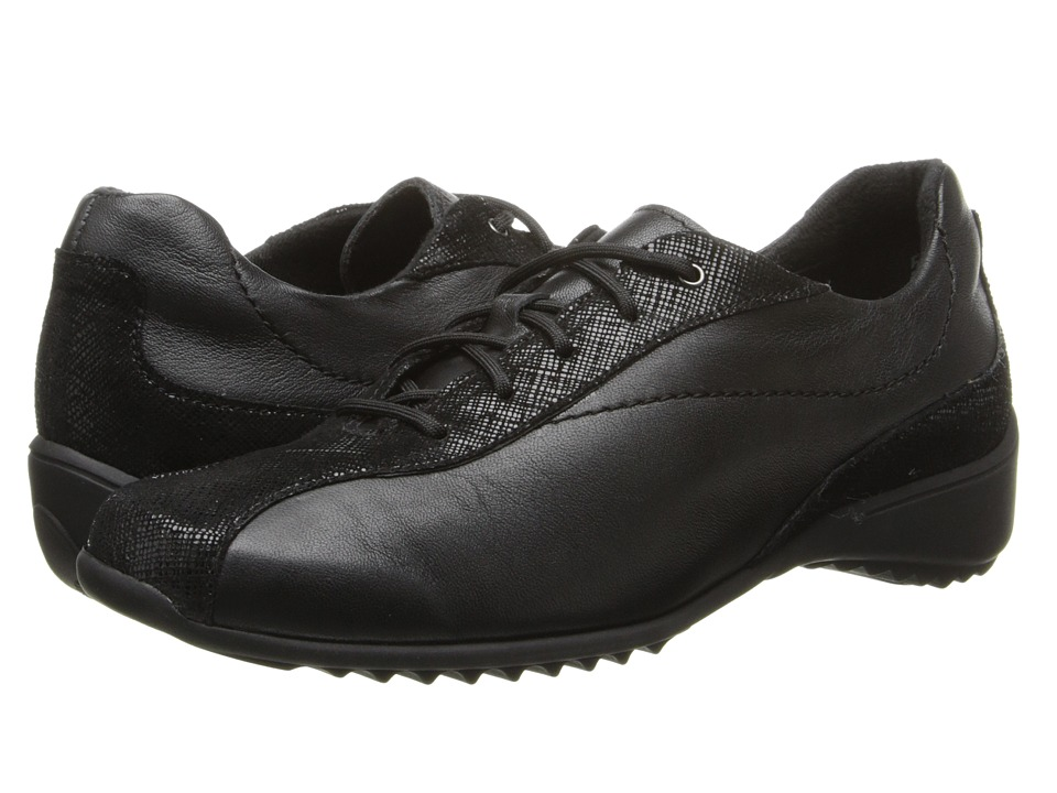 Munro - Sydney (Black Leather/Crosshatch) Women's Lace up casual Shoes