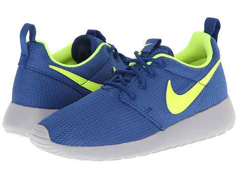 Nike Kids - Roshe Run (Little Kid/Big Kid) (Gym Blue/Wolf Grey/Volt) Kids Shoes
