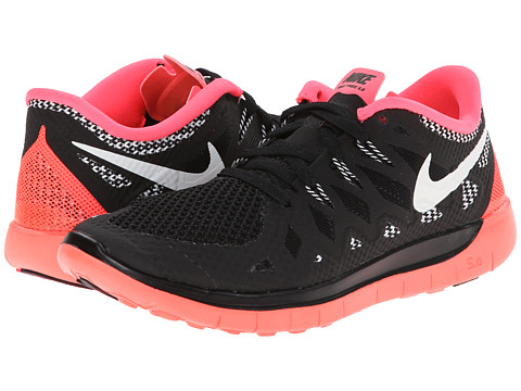 Nike Kids - Free 5.0 (Big Kid) (Black/Hyper Punch/White/White) Girls Shoes