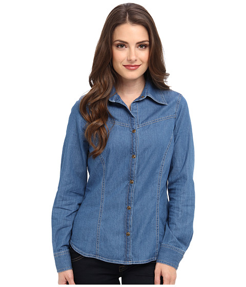 Pendleton - Petite Fitted Denim Day Shirt (Medium Indigo Denim Shirting) Women