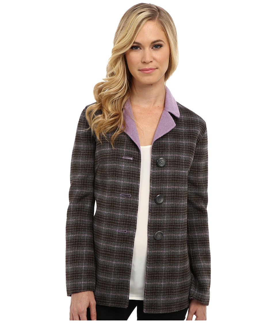 Pendleton - Petite Doubletime Jacket (Viola/Grey Mix Plaid) Women
