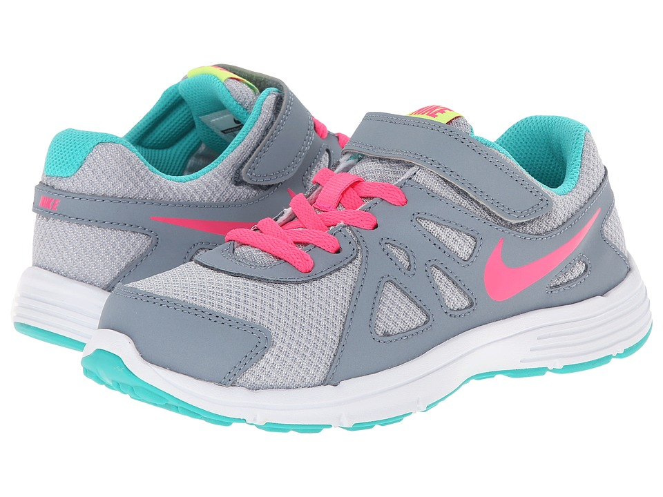 Nike Kids - Revolution 2 (Little Kid) (Wolf Grey/Magnet Grey/Hyper Jade/Hyper Pink) Girls Shoes