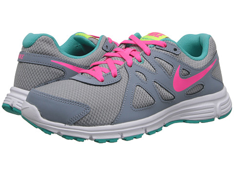 Nike Kids - Revolution 2 (Big Kid) (Wolf Grey/Magnet Grey/Hyper Jade/Hyper Pink) Girls Shoes