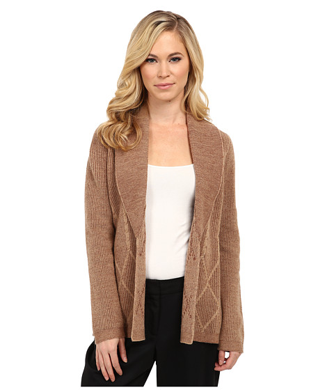 Pendleton - Petite Placed Cable Cardigan (Camel Heather/Tortoise Heather) Women