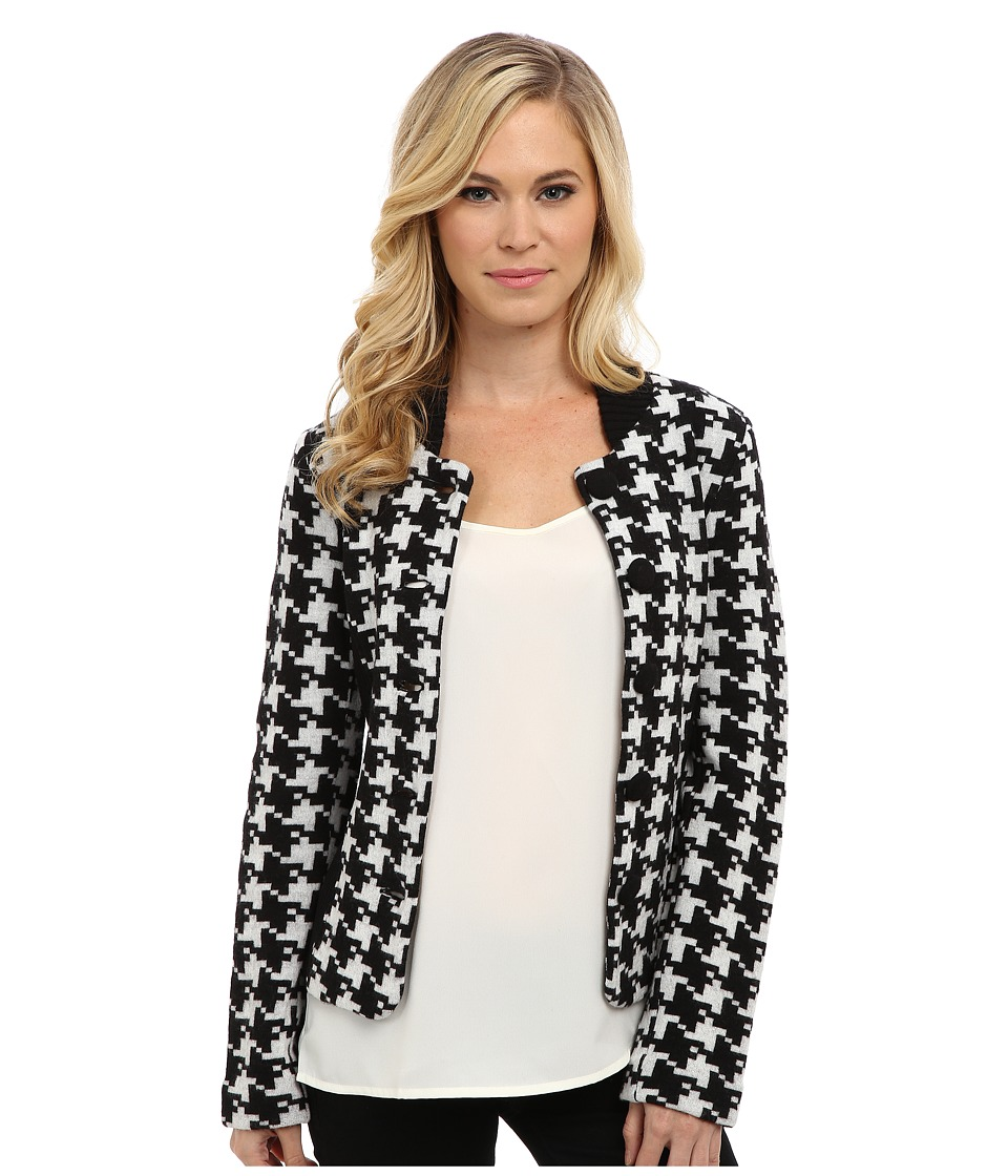 Pendleton - Petite Davis Houndstooth Jacket (Black/Ivory) Women's Jacket