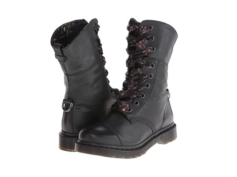 Dr. Martens - Aimilita 9-Eye Toe Cap Boot (Black Floral Darkened Mirage) Women's Lace-up Boots