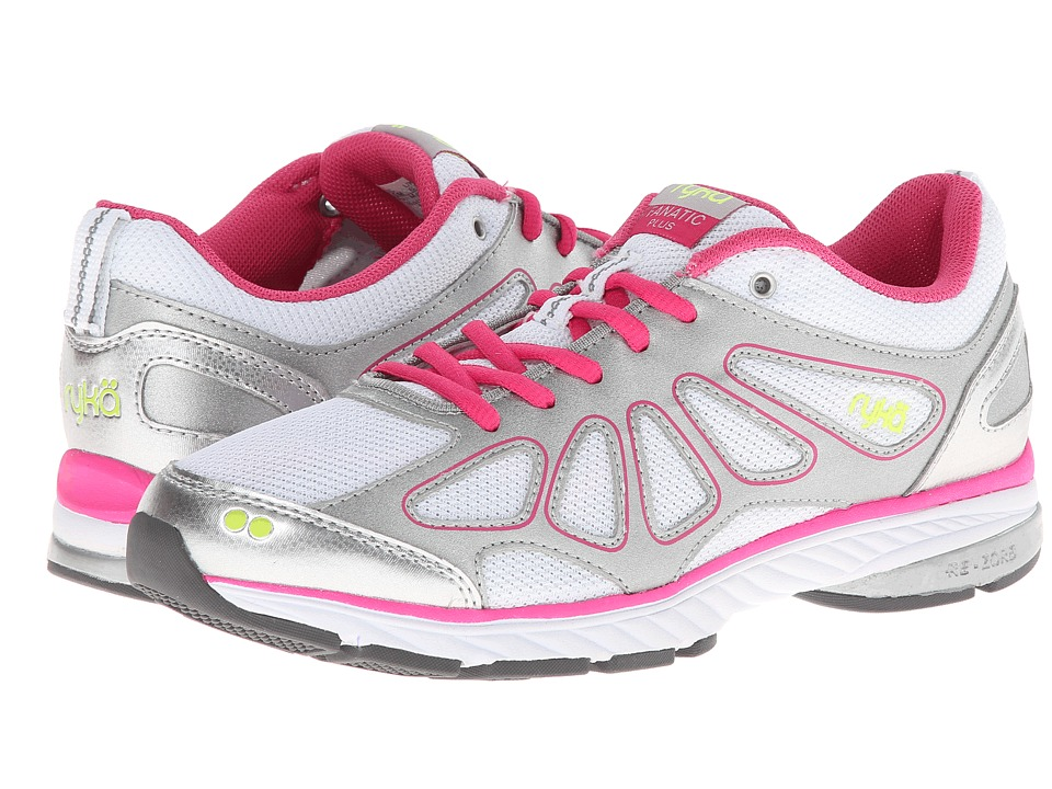 Ryka - Fanatic Plus (White/Chrome Silver/Pink Scorch/Lime Shock) Women's Running Shoes