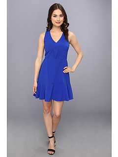 SALE! $46.99 - Save $45 on Aryn K A Line V Neck Dress (Blue) Apparel - 48.92% OFF $92.00