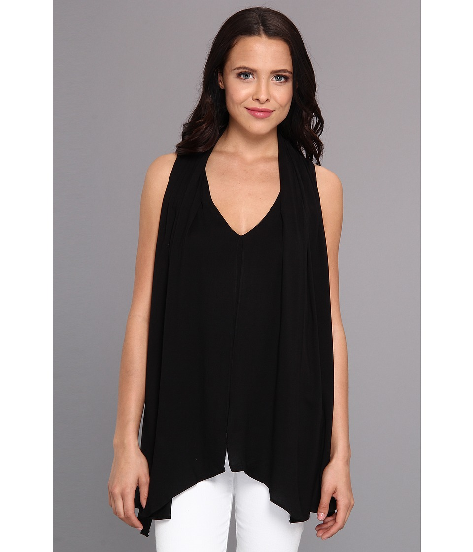 Aryn K - Front Panel Drape Tank (Black) Women's Sleeveless