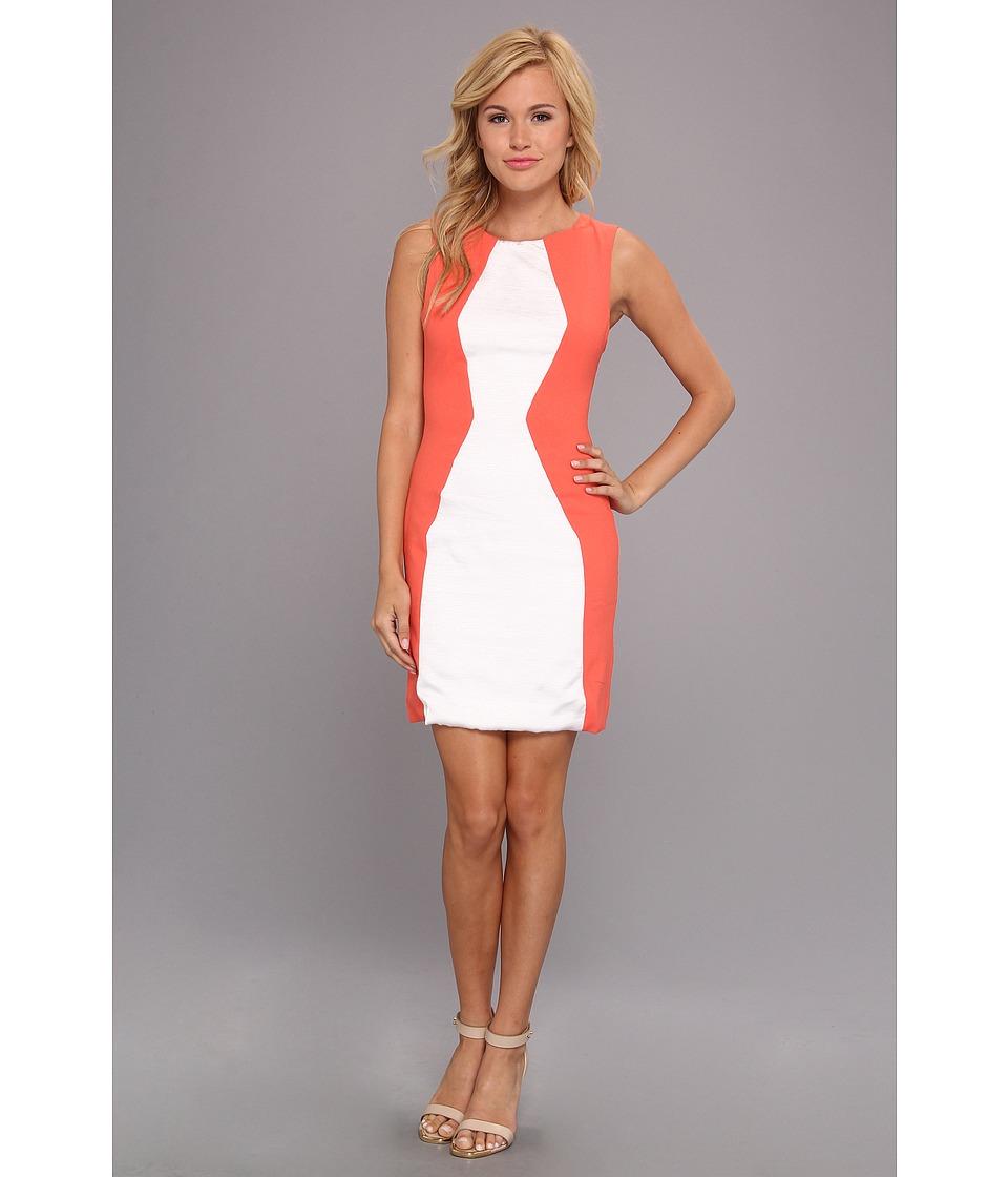 Aryn K Color Block Mini Dress Womens Dress (Orange)