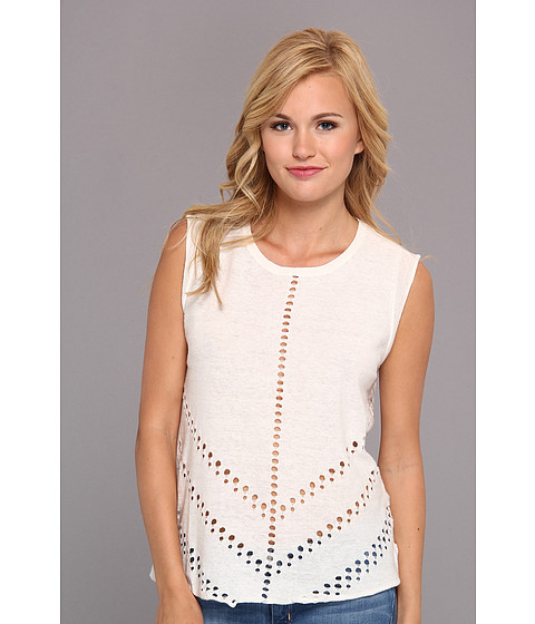 Aryn K - Tank Sweater w/ Laser Cut (White) Women's Sleeveless