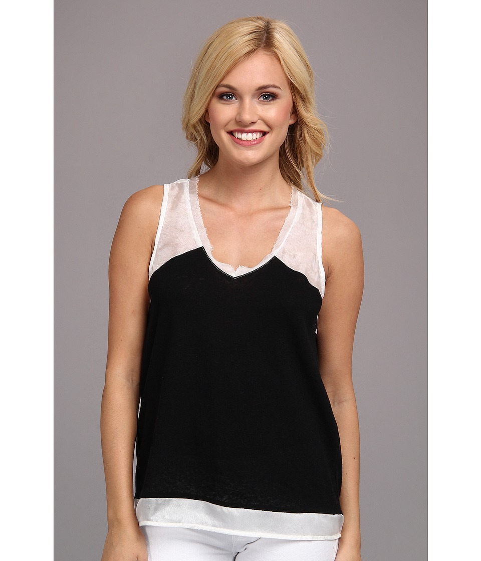 Aryn K - AT2697B Block Tank Top (Black/White) Women's Sleeveless