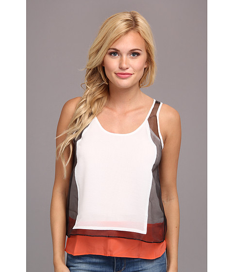 Aryn K - Color Block Tank Top (White/Black) Women's Sleeveless