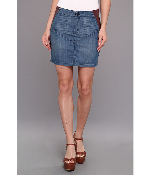 BCBGeneration - Denim/Fx Leather Skirt (Agean Blue) Women's Skirt