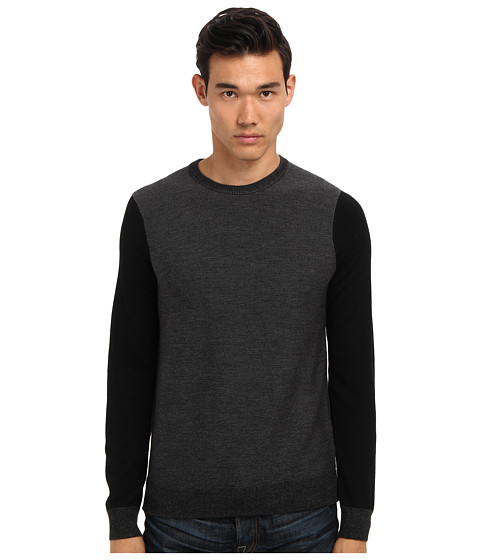 Vince - L/S Striped Crew Sweater (Black) Men's Long Sleeve Pullover