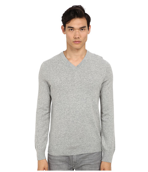 Vince - L/S V-Neck Sweater (Heather Steel) Men's Long Sleeve Pullover