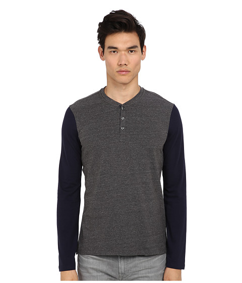 Vince - L/S Color Blocked Henley (Carbon) Men's Long Sleeve Pullover