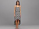 Seven7 Jeans - Chevron Hi-Low Dress (Black Stripe Combo) - Apparel