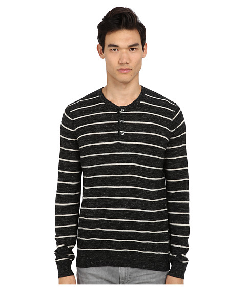 Vince - L/S Striped Henley (Black/Heather Oatmeal) Men's Long Sleeve Pullover