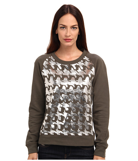 Paul Smith - Houndstooth Printed Sweatshirt (Camel) Women's Long Sleeve Pullover