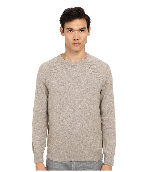 Vince - L/S Raglan Crew Sweater w/ Suede Patch (Heather Almond) Men's Long Sleeve Pullover