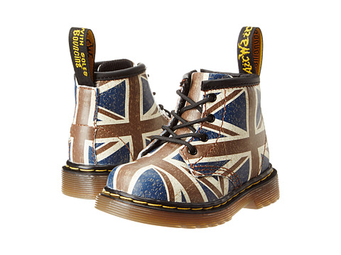 Dr. Martens Kid's Collection - Brooklee B 4-Eye Lace Boot (Toddler) (Union Jack Softy T) Kids Shoes
