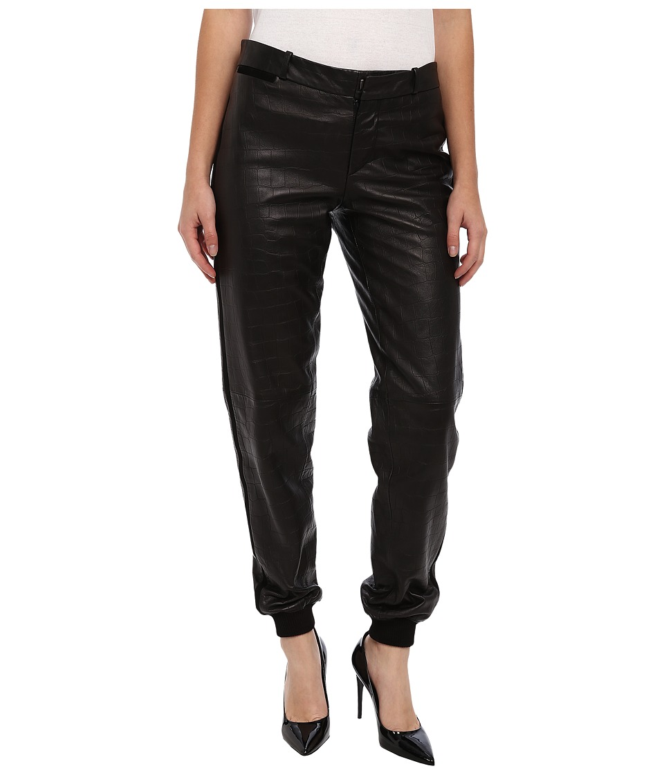 Paul Smith - Leather Track Pant (Black) Women's Casual Pants