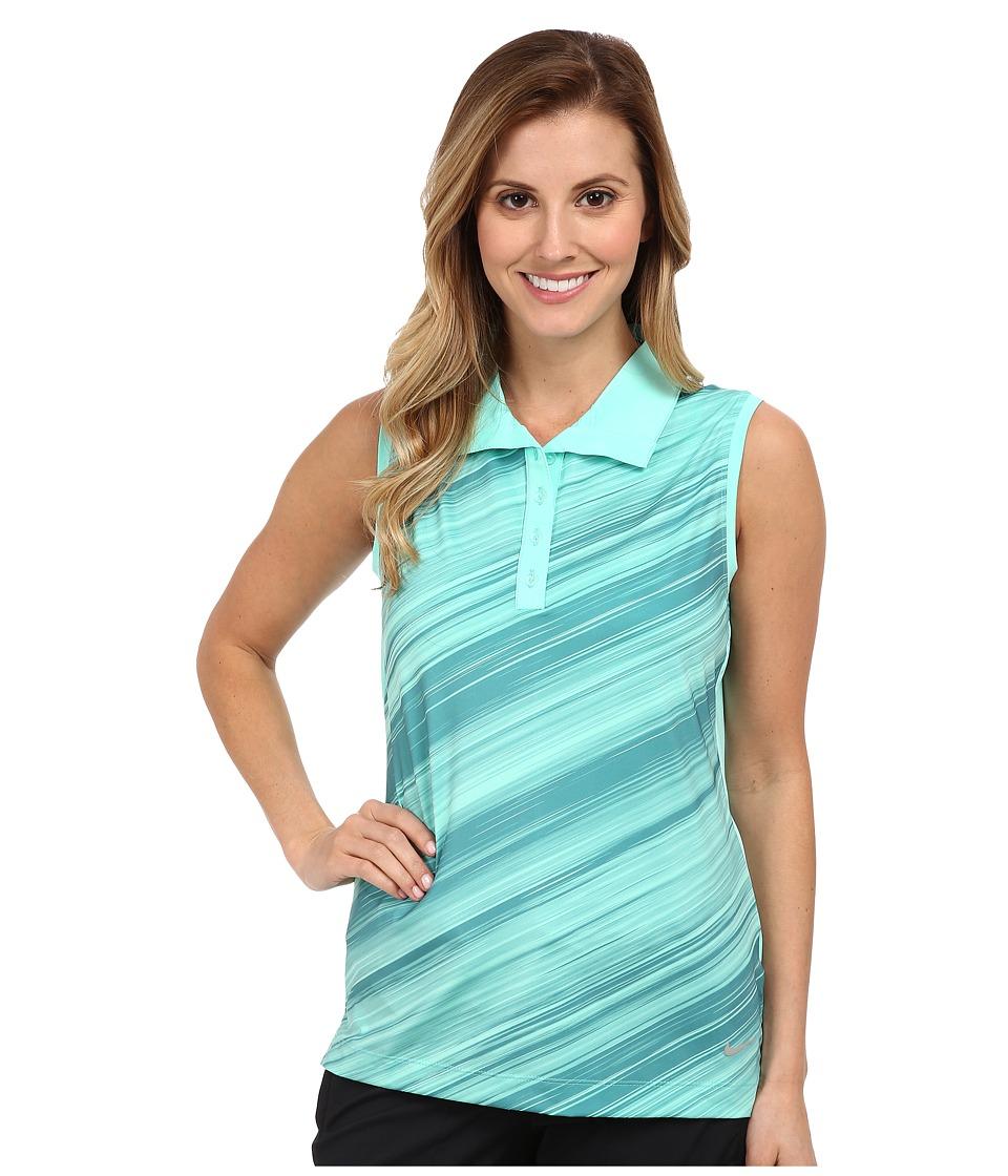 Nike Golf - Speed Stripe Sleeveless Polo (Hyper Turquoise/Metallic Silver) Women's Sleeveless