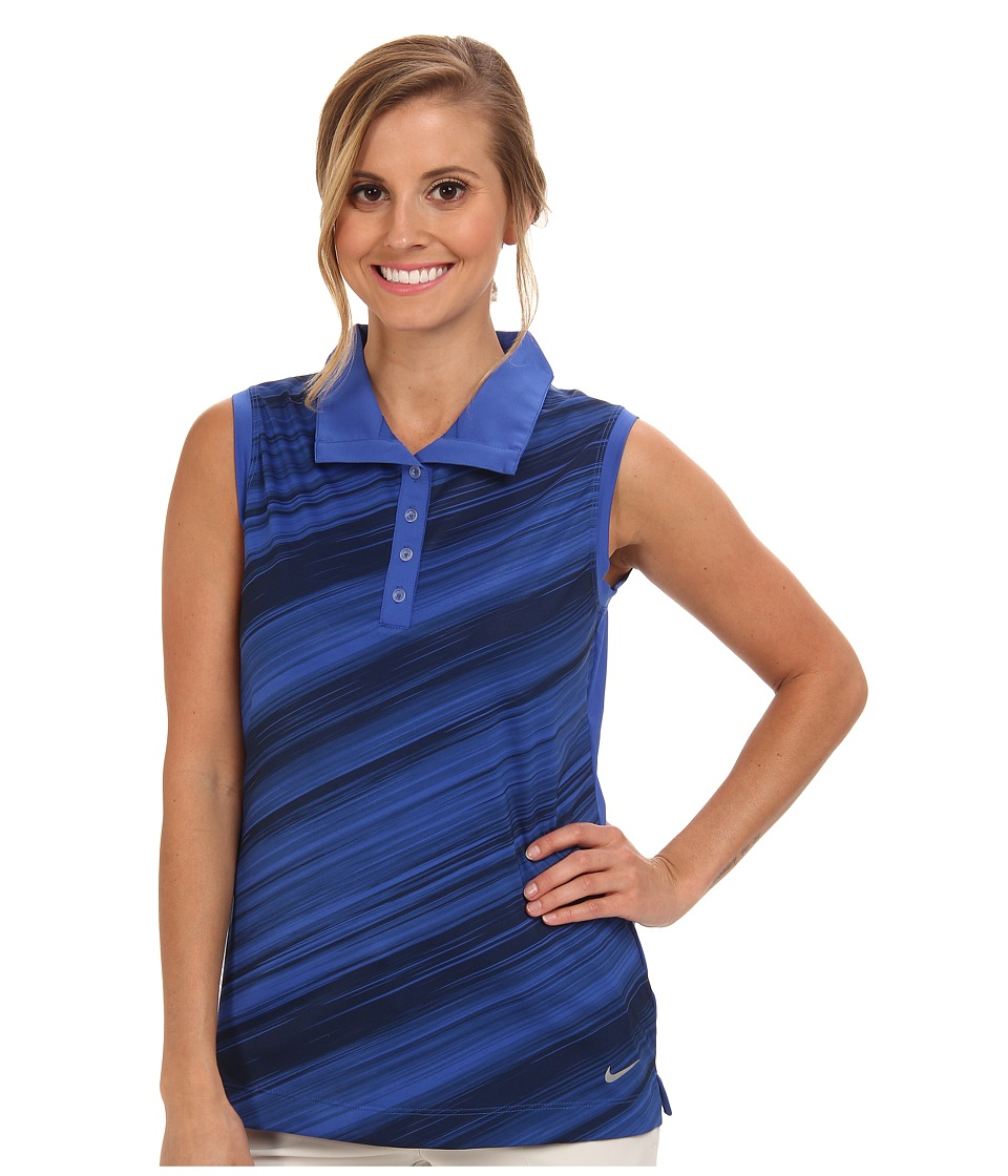 Nike Golf - Speed Stripe Sleeveless Polo (Game Royal/Metallic Silver) Women's Sleeveless