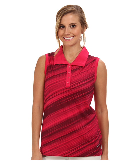 Nike Golf - Speed Stripe Sleeveless Polo (Fuchsia Force/Metallic Silver) Women's Sleeveless