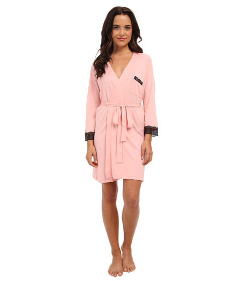 Cosabella - Perugia 3/4 Sleeve Robe (Rosa Sorbetto/Black) Women