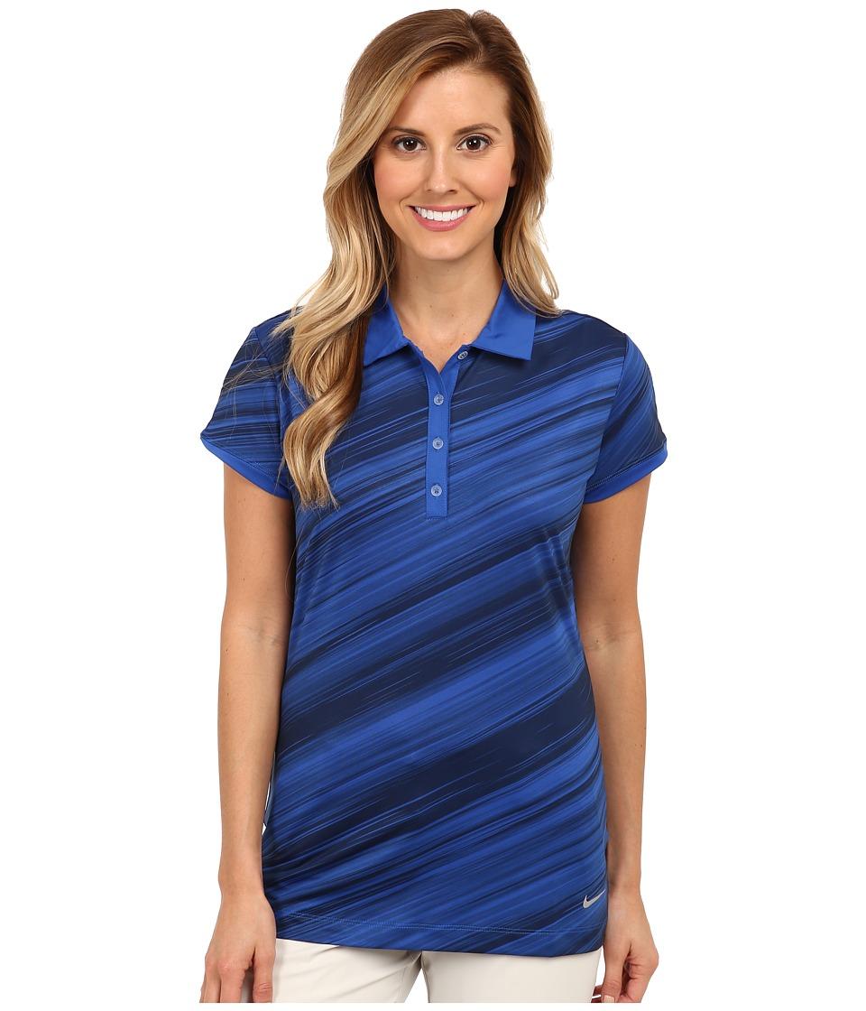 Nike Golf - All Over Speed Stripe Polo (Game Royal/Metallic Silver) Women