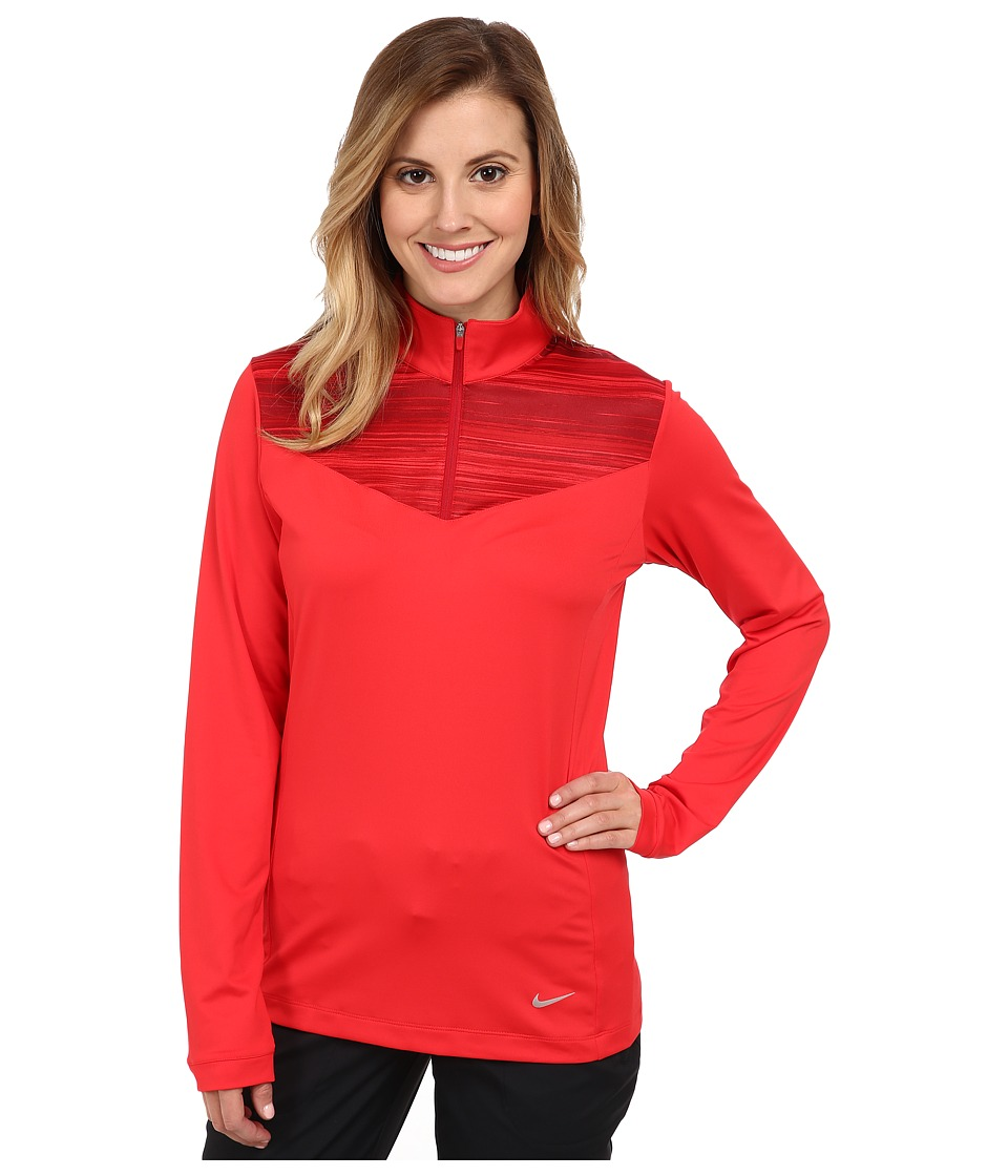 Nike Golf - L/S Zip Top (Action Red/Action Red/Metallic Silver) Women's Long Sleeve Pullover