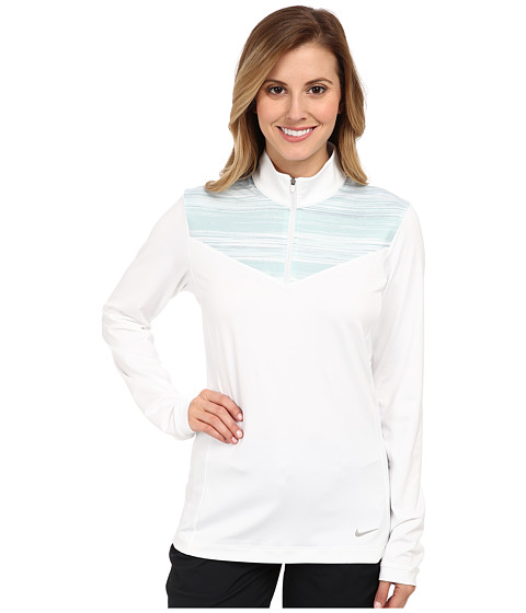 Nike Golf - L/S Zip Top (White/White/Metallic Silver) Women's Long Sleeve Pullover