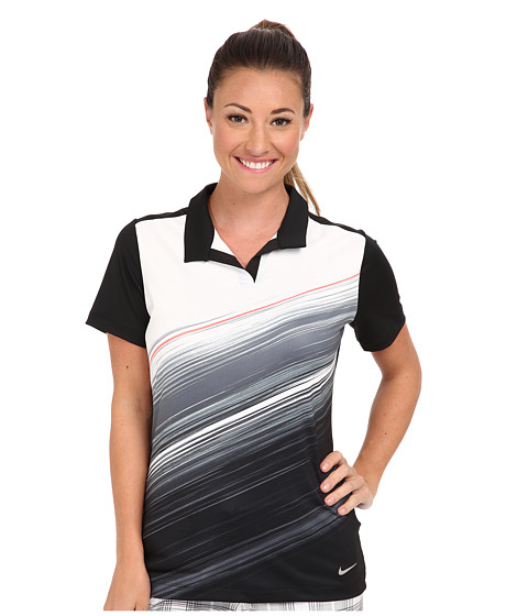 Nike Golf - Speed Stripe Mesh Polo (Black/White/Metallic Silver) Women