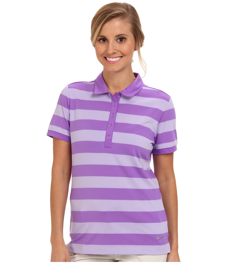 Nike Golf - Bold Stripe Polo (Hyper Grape/Metallic Silver) Women's Short Sleeve Knit