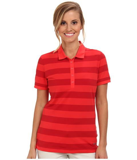 Nike Golf - Bold Stripe Polo (Action Red/Metallic Silver) Women