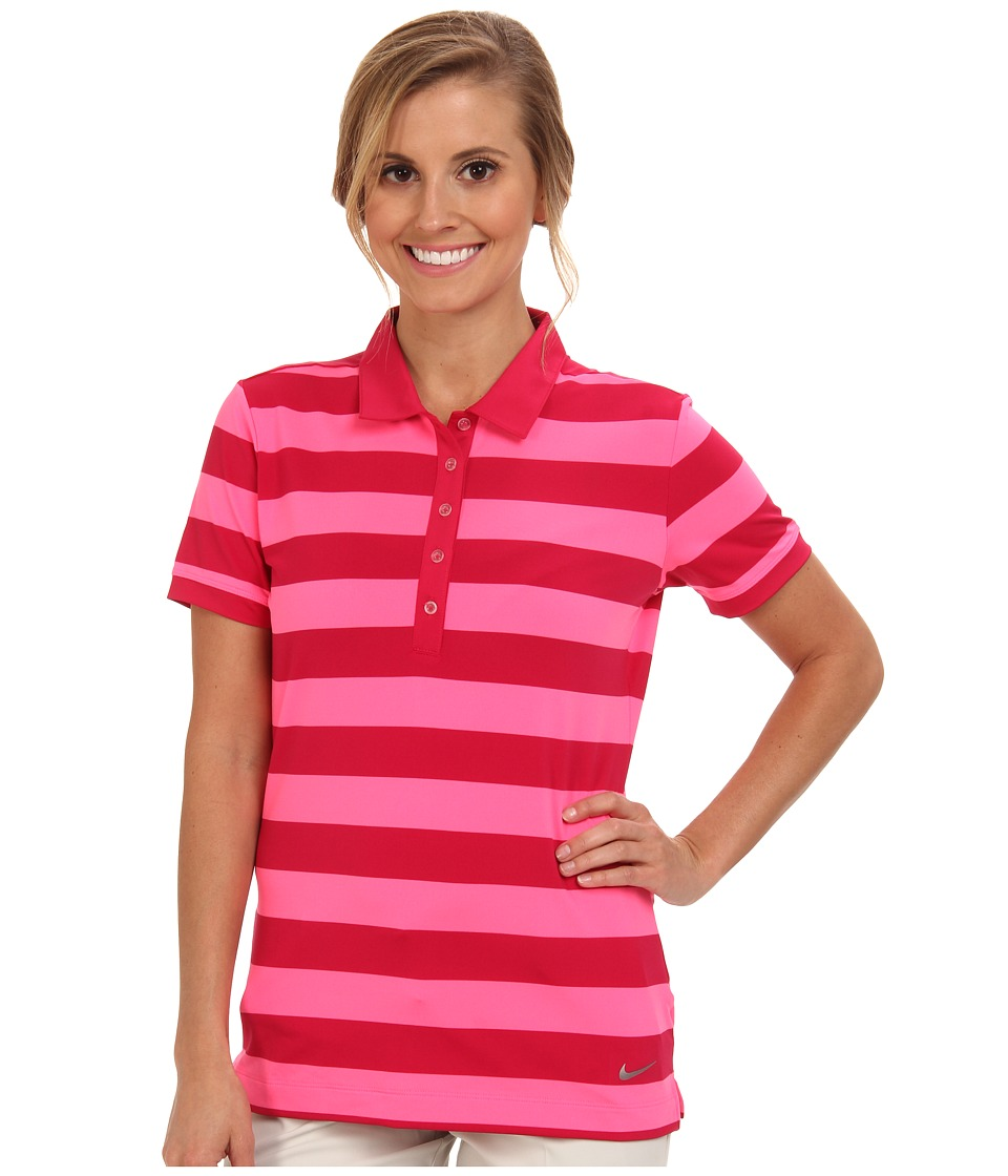 Nike Golf - Bold Stripe Polo (Fuchsia Force/Metallic Silver) Women