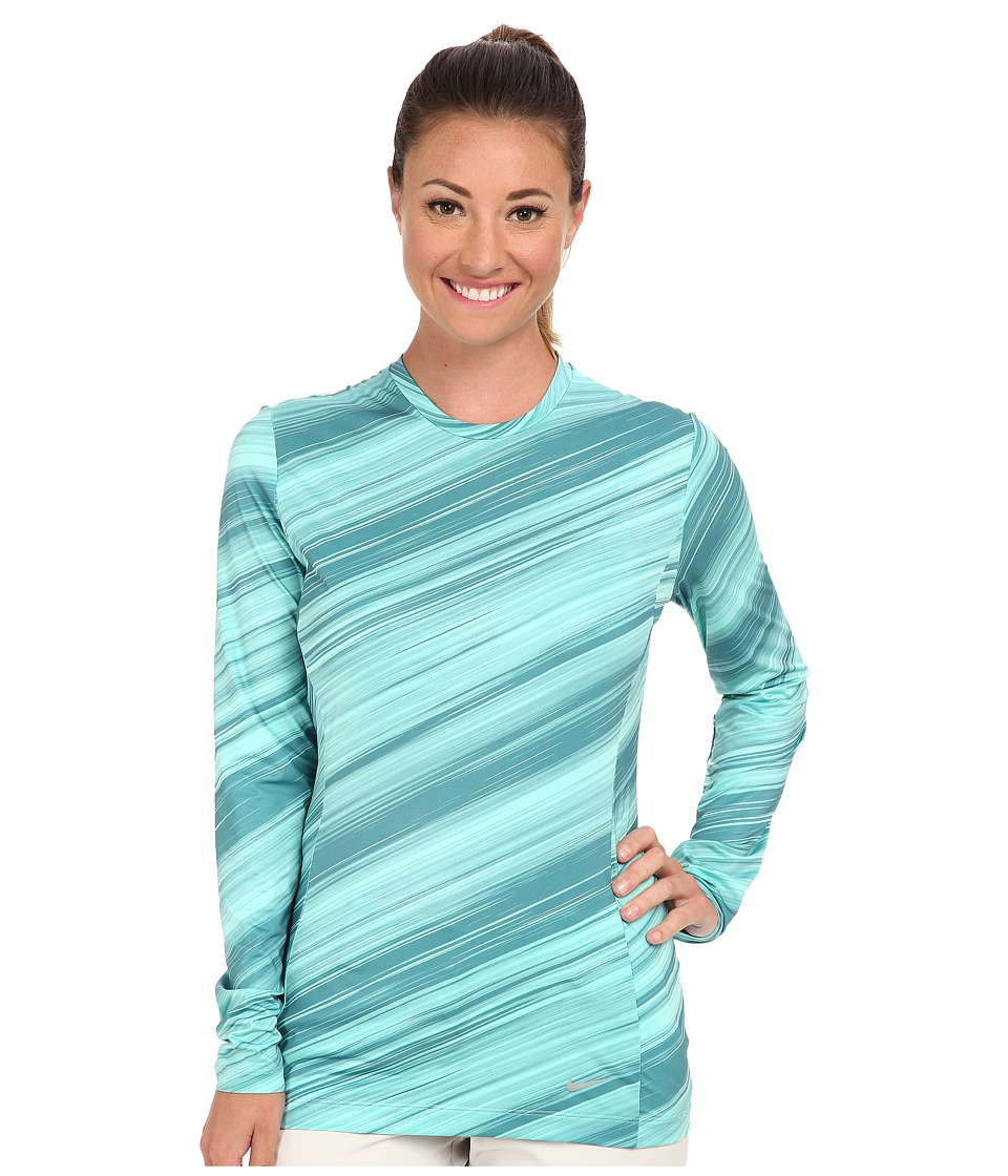 Nike Golf - Nike Pro L/S Crew (Bleached Turquoise/Metallic Silver) Women's Long Sleeve Pullover
