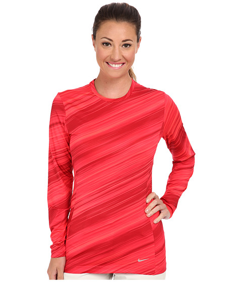 Nike Golf - Nike Pro L/S Crew (Laser Crimson/Metallic Silver) Women