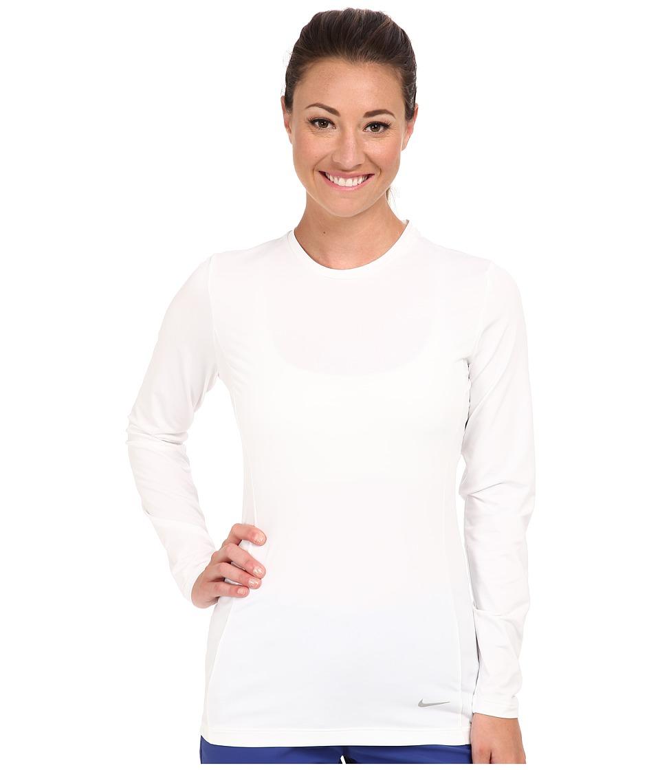 Nike Golf - Nike Pro L/S Crew (White/Metallic Silver) Women