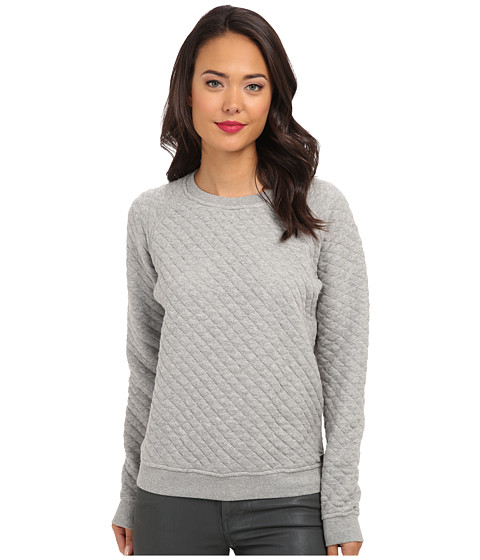 Converse - Quilted Crew Shirt (Vintage Grey Heather) Women's Long Sleeve Pullover