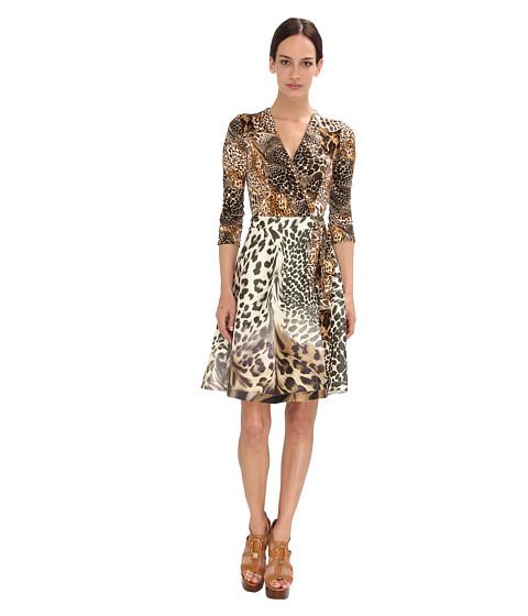 Diane von Furstenberg - Amelia Dress (Animal War Large/Leopard Landscape) Women