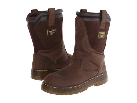 Dr. Martens - Fence ST Wellington Boot (Dark Brown Wyoming) Men's Work Boots