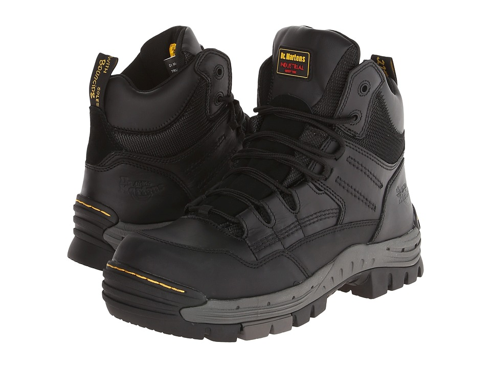 Dr. Martens - Truss 7-Tie ST Hiker (Black Poro WP/WR Suede) Men's Work Boots