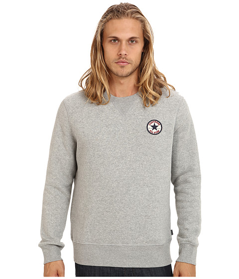 Converse - Core Chuck Patch Fleece Crew (Vintage Grey Heather) Men's Sweatshirt