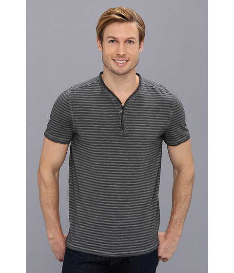 John Varvatos Star U.S.A. - Garment Dyed Henley K740Q1B (Pewter) Men's T Shirt