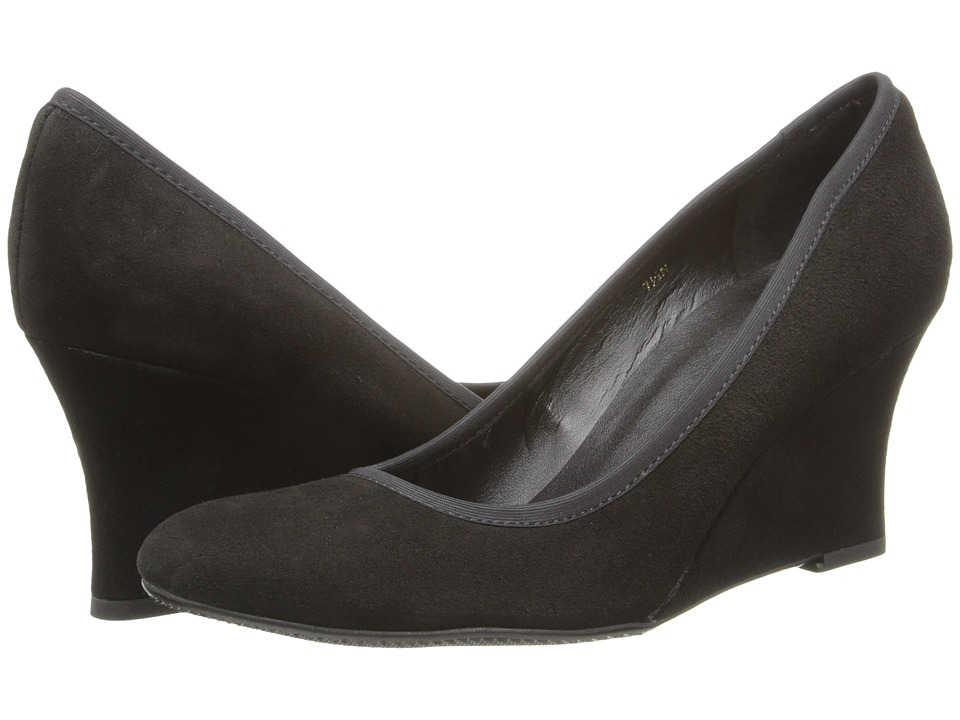 Vaneli - Udara (Black Ecco Suede/Mtch Elastic) Women's Wedge Shoes